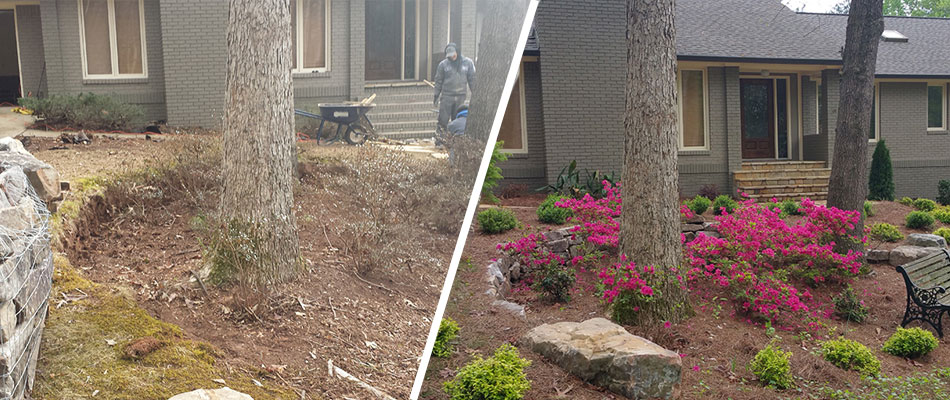 Before and after photo of a yard cleanup, new landscaping, and retaining wall at a home in Roswell.
