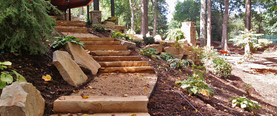 Flagstone steps and walkway installed at a home in Roswell, GA.