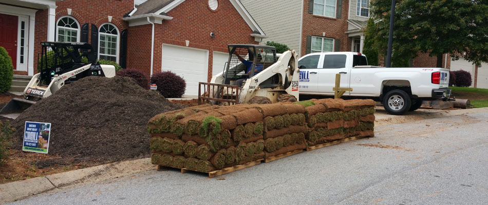 Need sod being installed by our team in the front lawn of a home in Woodstock, GA.